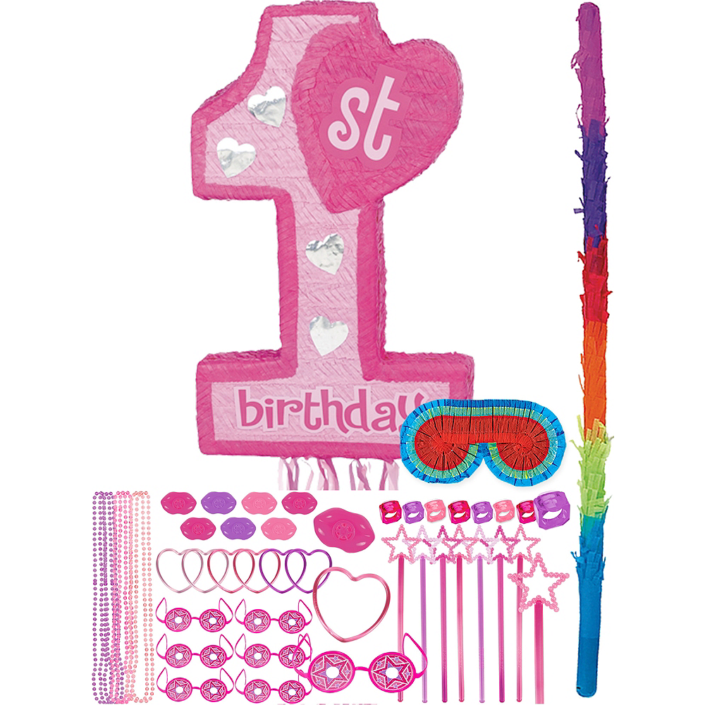 Pink 1st Birthday Pinata Kit with Favors Image #1