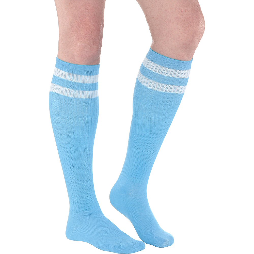 33ad5aa0850 Light Blue Stripe Athletic Knee-High Socks Image  1