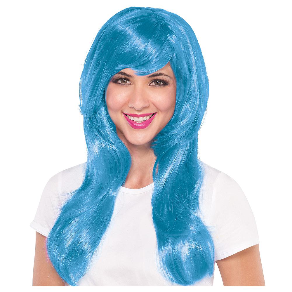 Glamorous Long Light Blue Wig Image #1