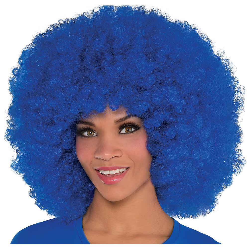 Giant Blue Afro Wig Image #1