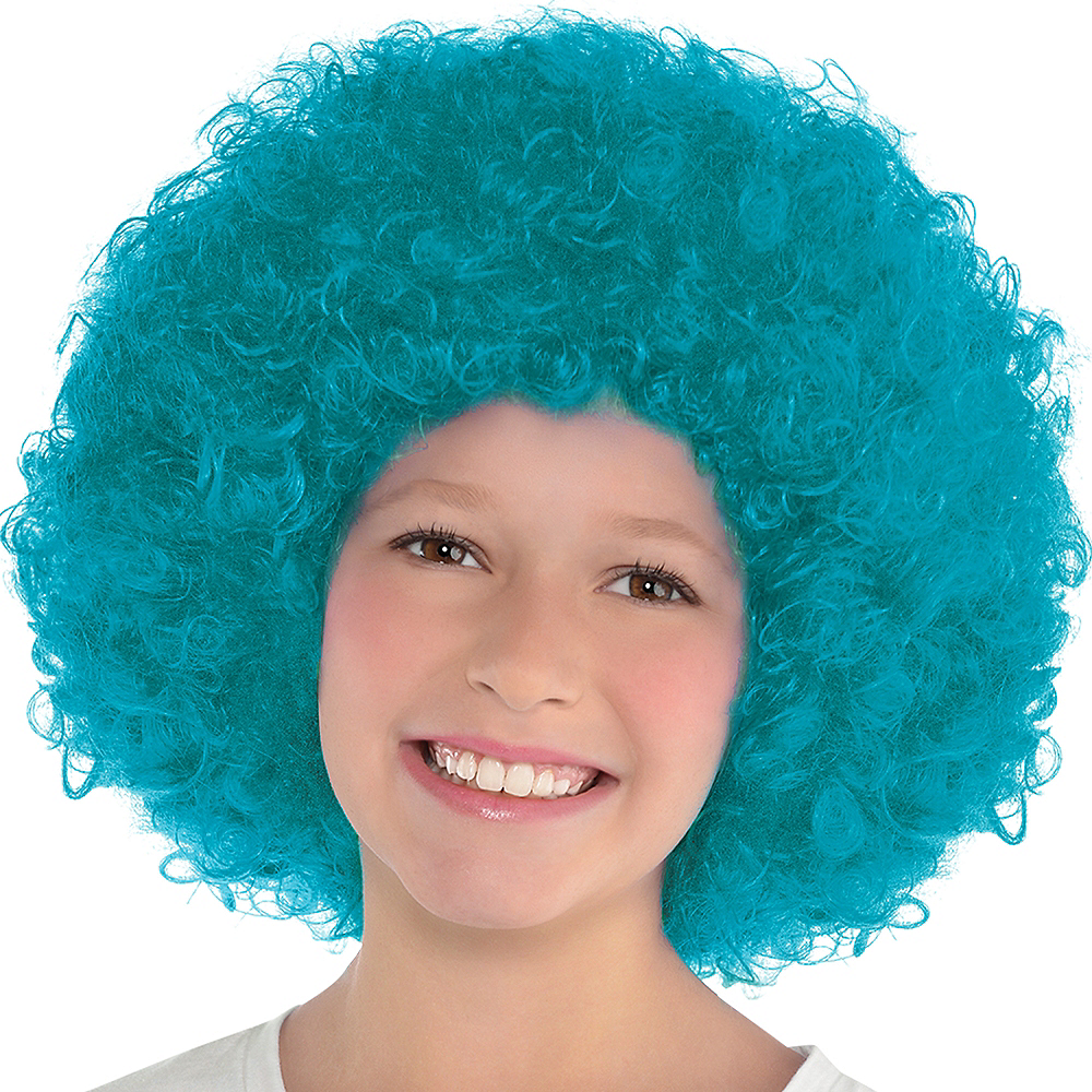 Turquoise Curly Wig Image #2