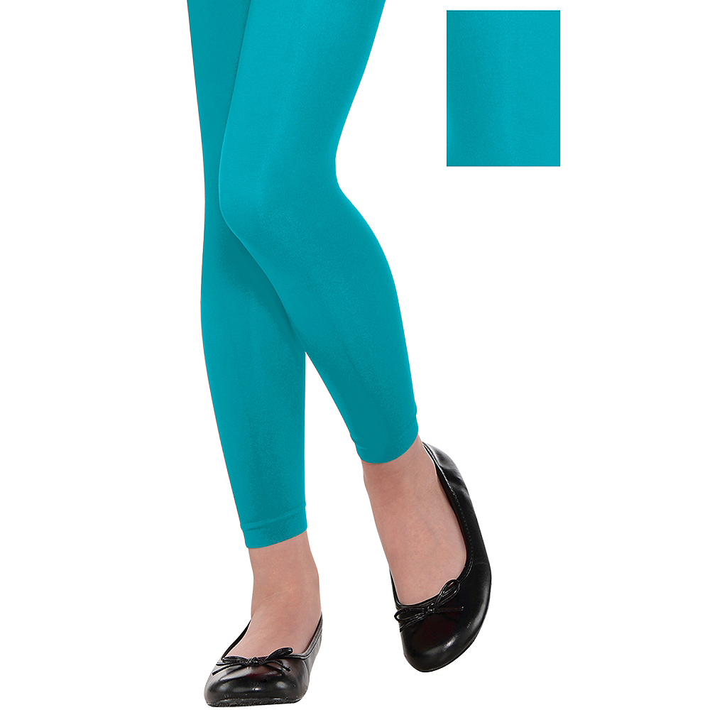 Child Turquoise Footless Tights Image #1