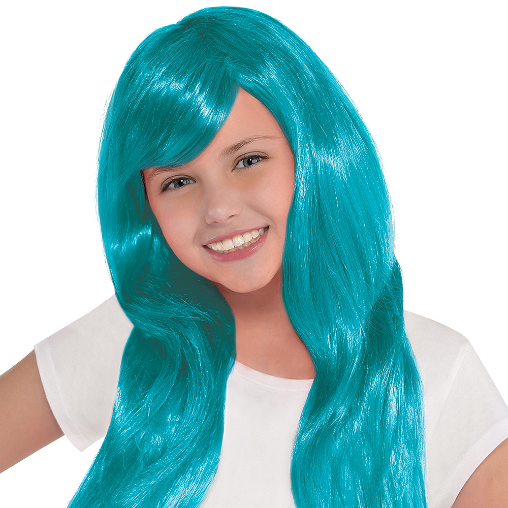 Nav Item for Glamorous Long Turquoise Wig Image #2