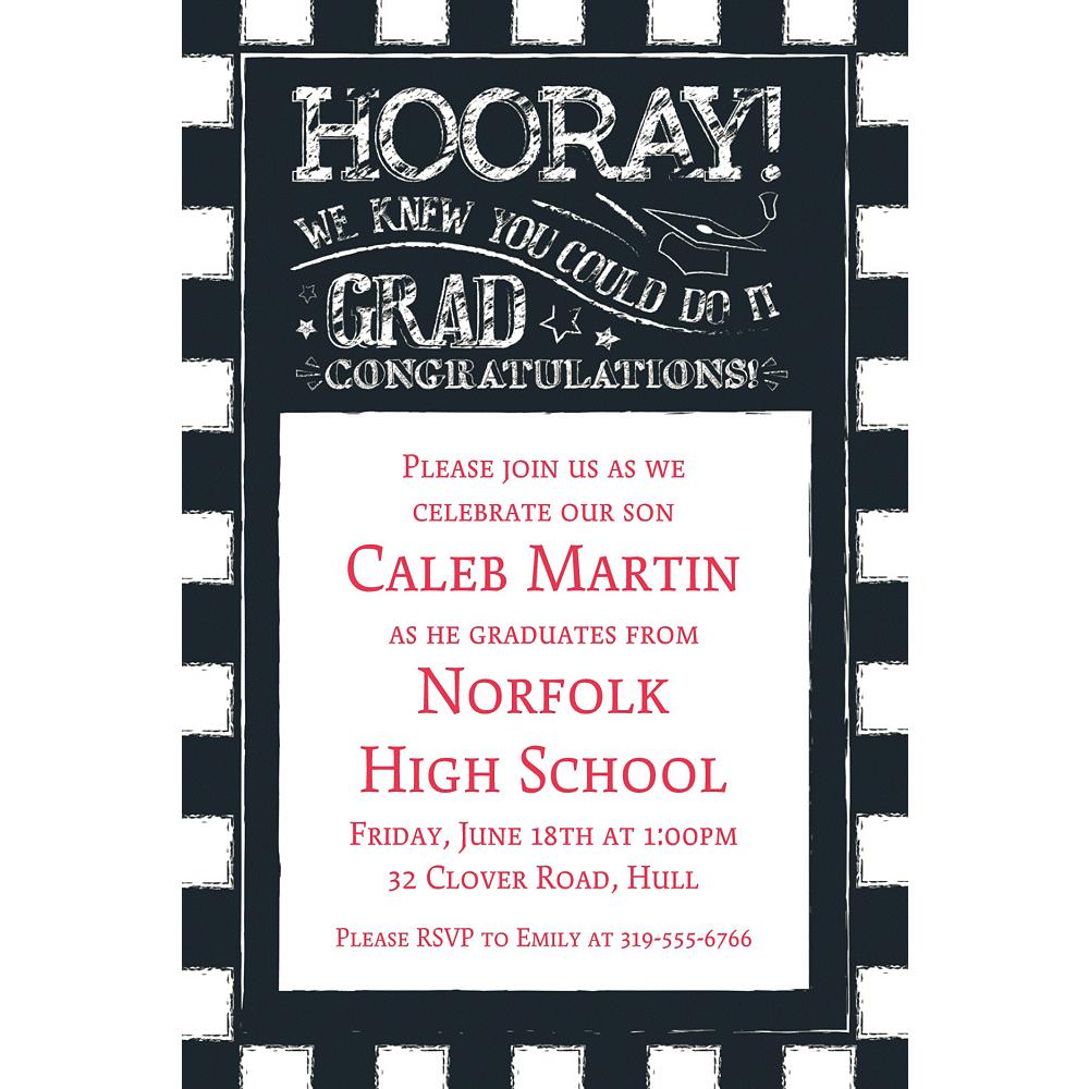 Custom Chalk Hooray Graduation Invitation  Image #1