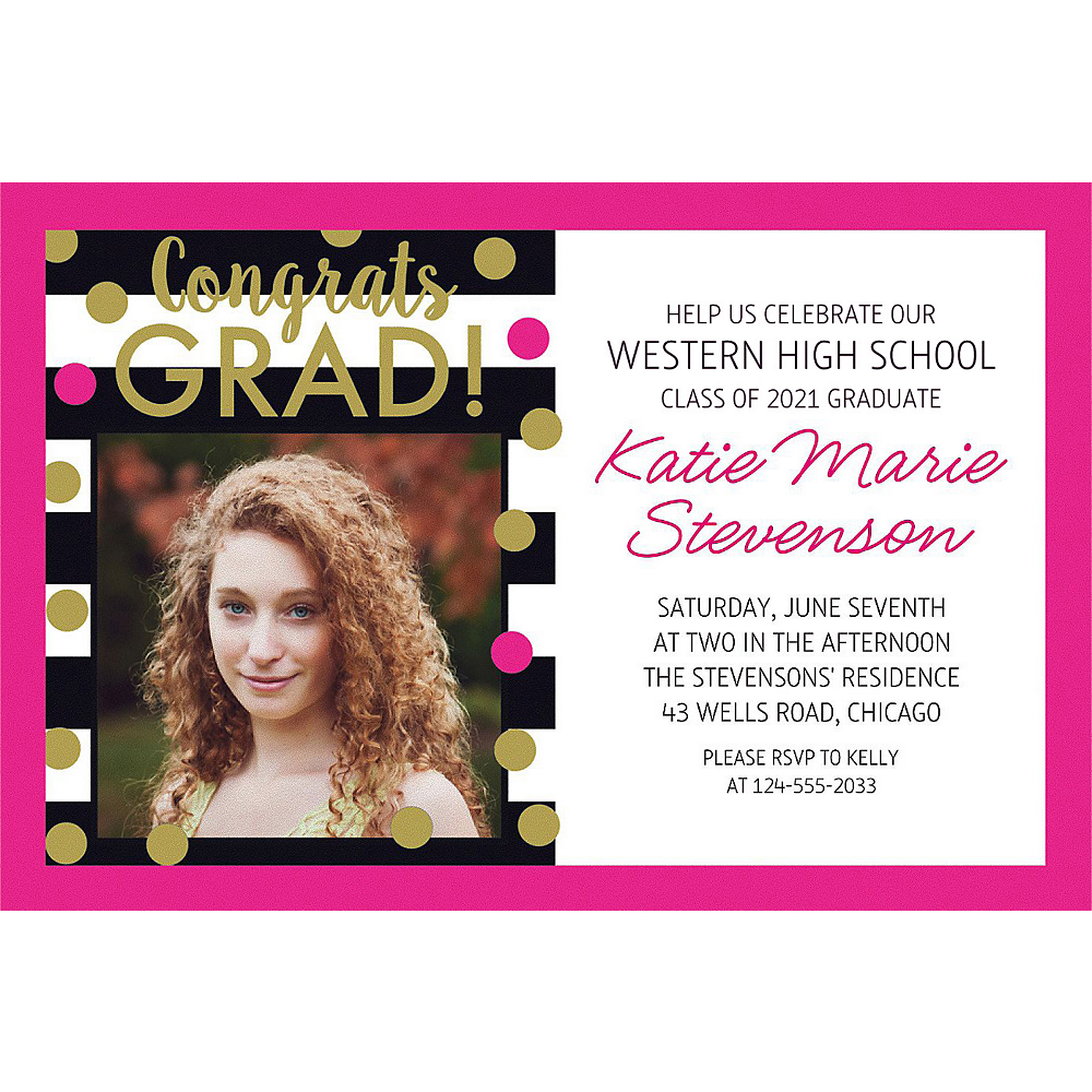 Custom Confetti Graduation Photo Invitation    Image #1