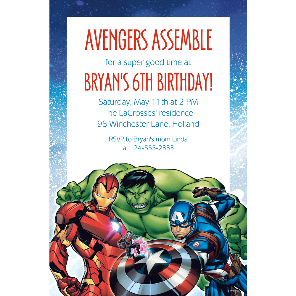 Custom Epic Avengers Invitation Image 1