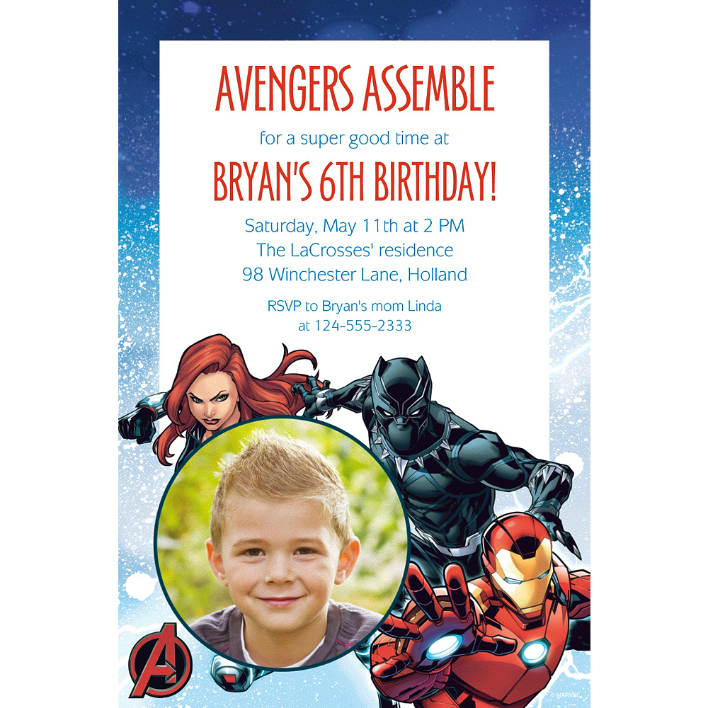 Custom Epic Avengers Photo Invitation Image #1
