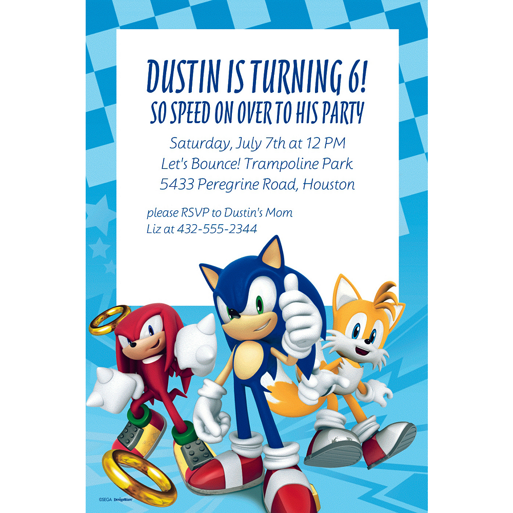 Custom Sonic The Hedgehog Invitations Party City