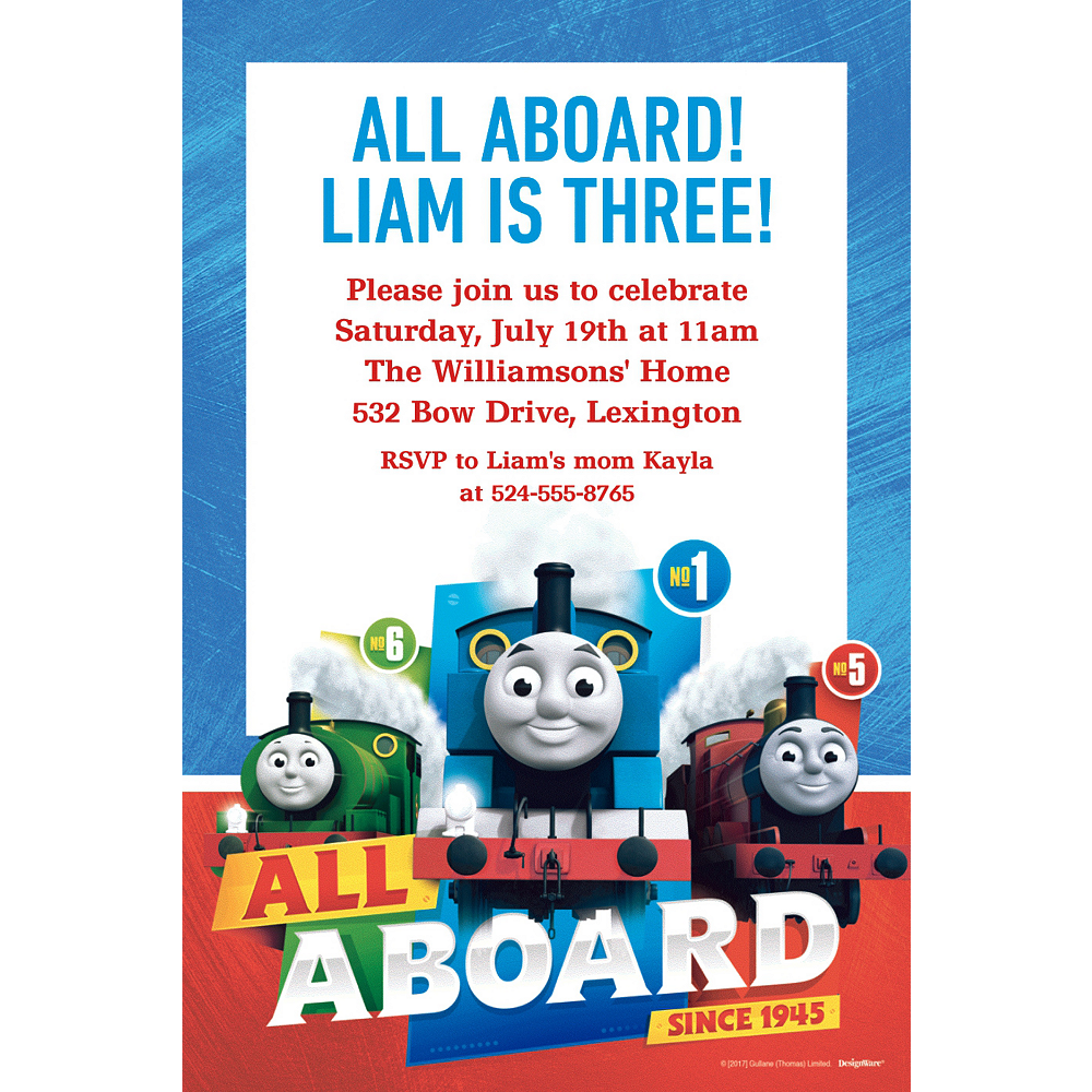 Custom Thomas The Tank Engine Invitation Image 1