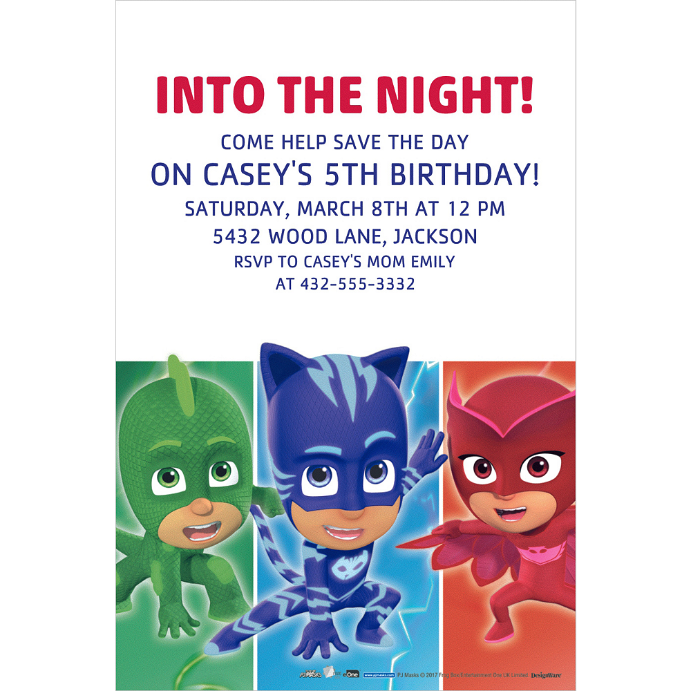 Custom PJ Masks Invitation Image 1
