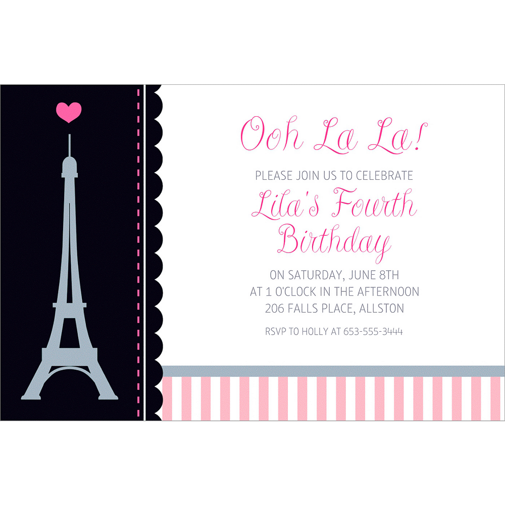 Custom Pink Paris Party Invitation Image 1