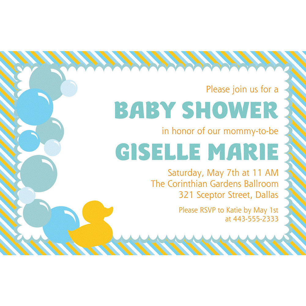 Custom Rubber Ducky Invitations | Party City