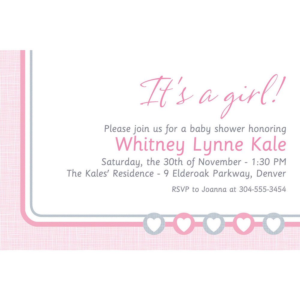 Custom Gray & Pink Hearts Invitation Image #1