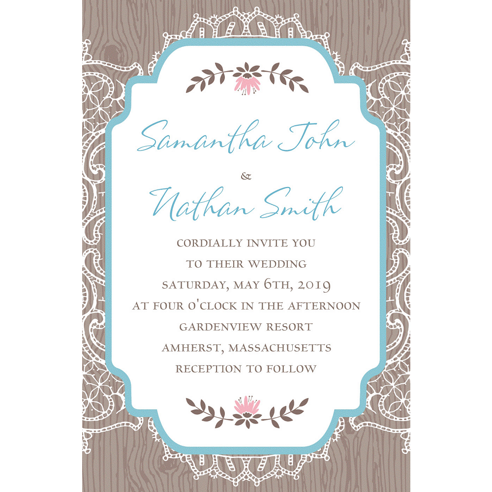Custom Rustic Lace & Wood Invitation Image #1