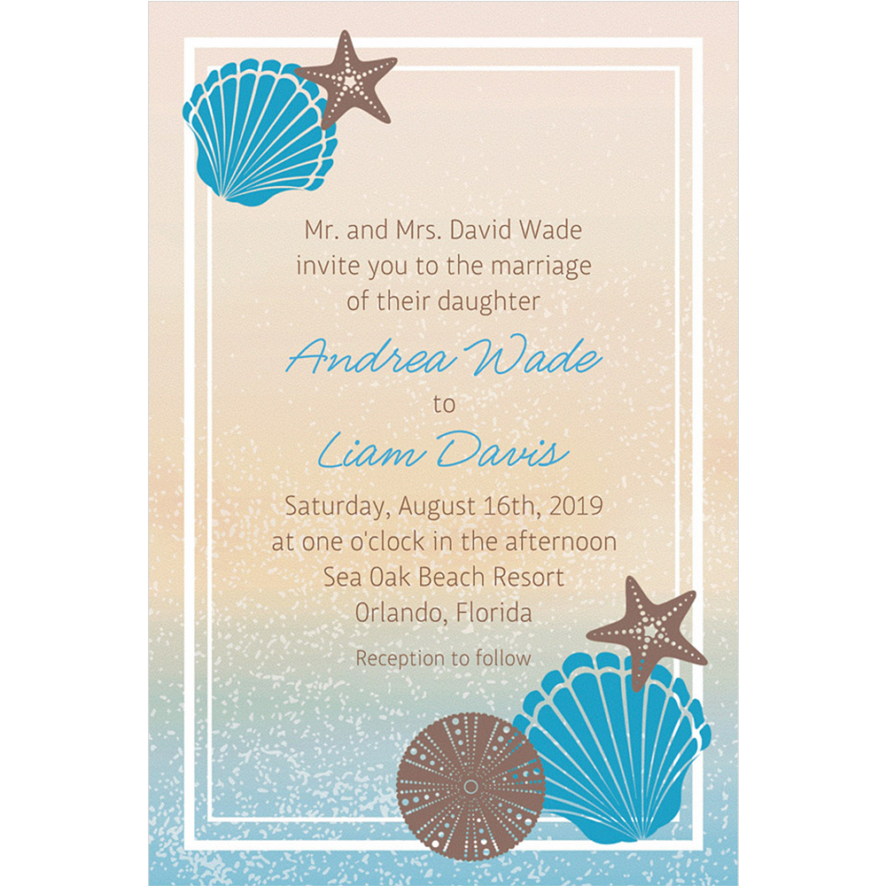 custom seashell beach invitations party city