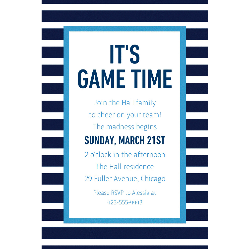 Custom Navy & Blue Stripes Invitation  Image #1