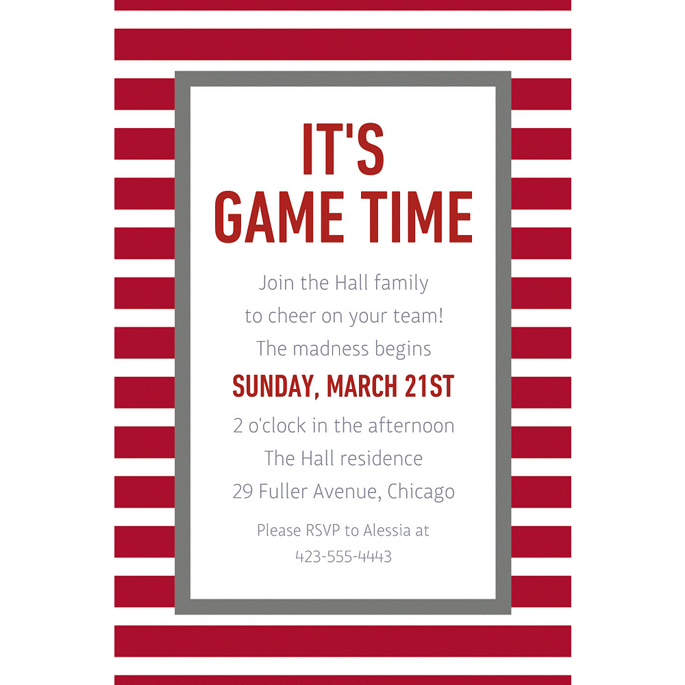 Custom Red & Gray Stripes Invitation Image #1