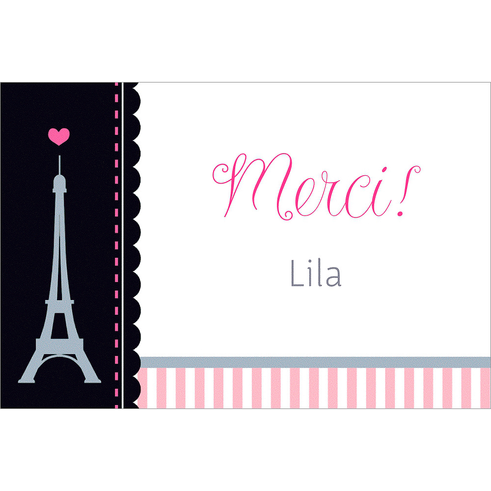 Custom Pink Paris Party Thank You Note Image #1