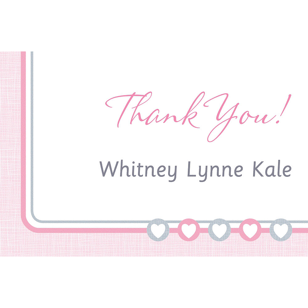 Custom Gray & Pink Hearts Thank You Note Image #1