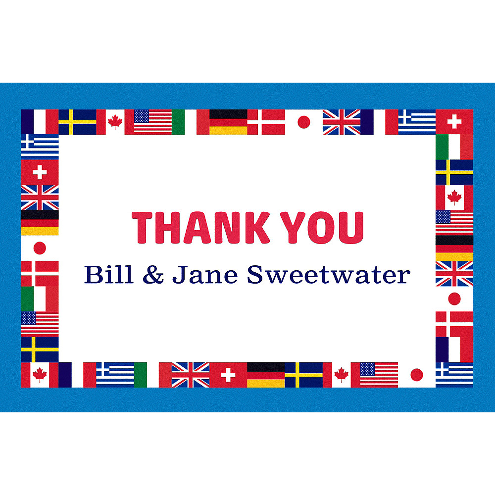Custom World Flags Thank You Note Image #1