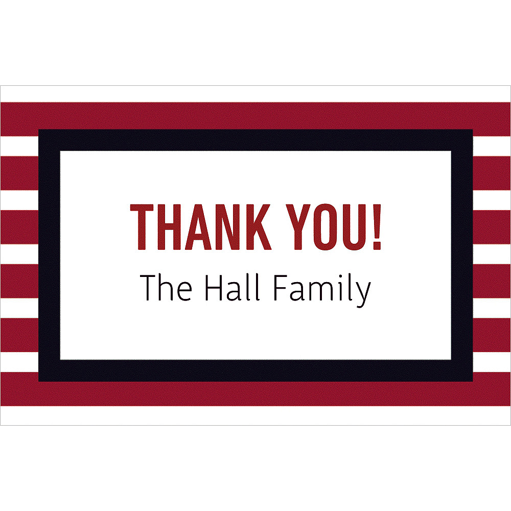 Custom Red & Black Stripes Thank You Note Image #1