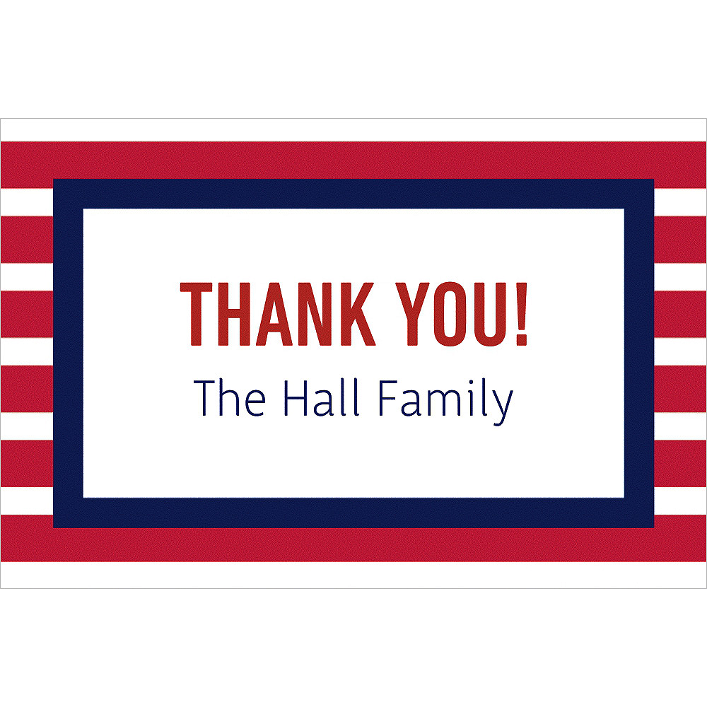 Custom Red & Blue Stripes Thank You Note Image #1