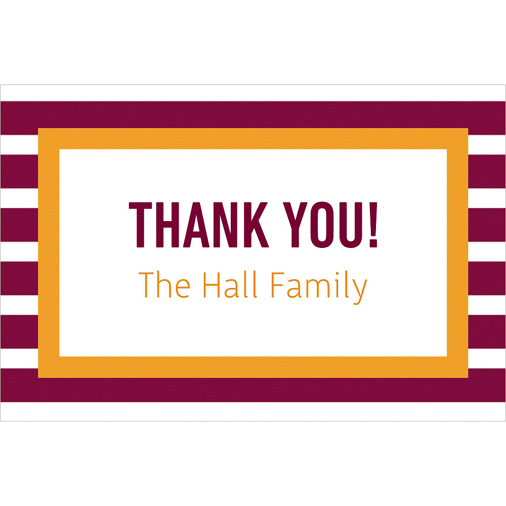 Custom Maroon & Yellow Stripes Thank You Note Image #1