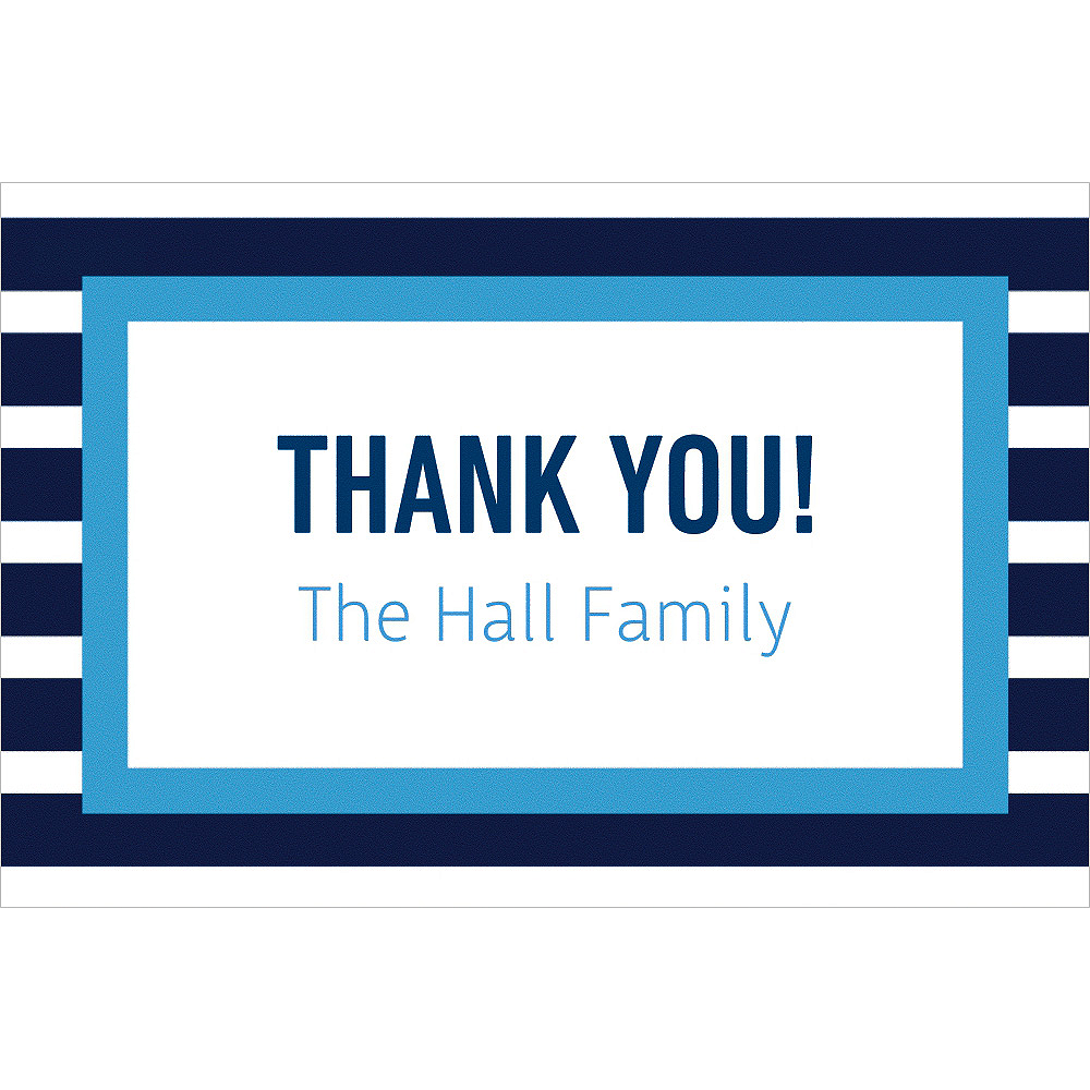 Custom Navy & Blue Stripes Thank You Note Image #1