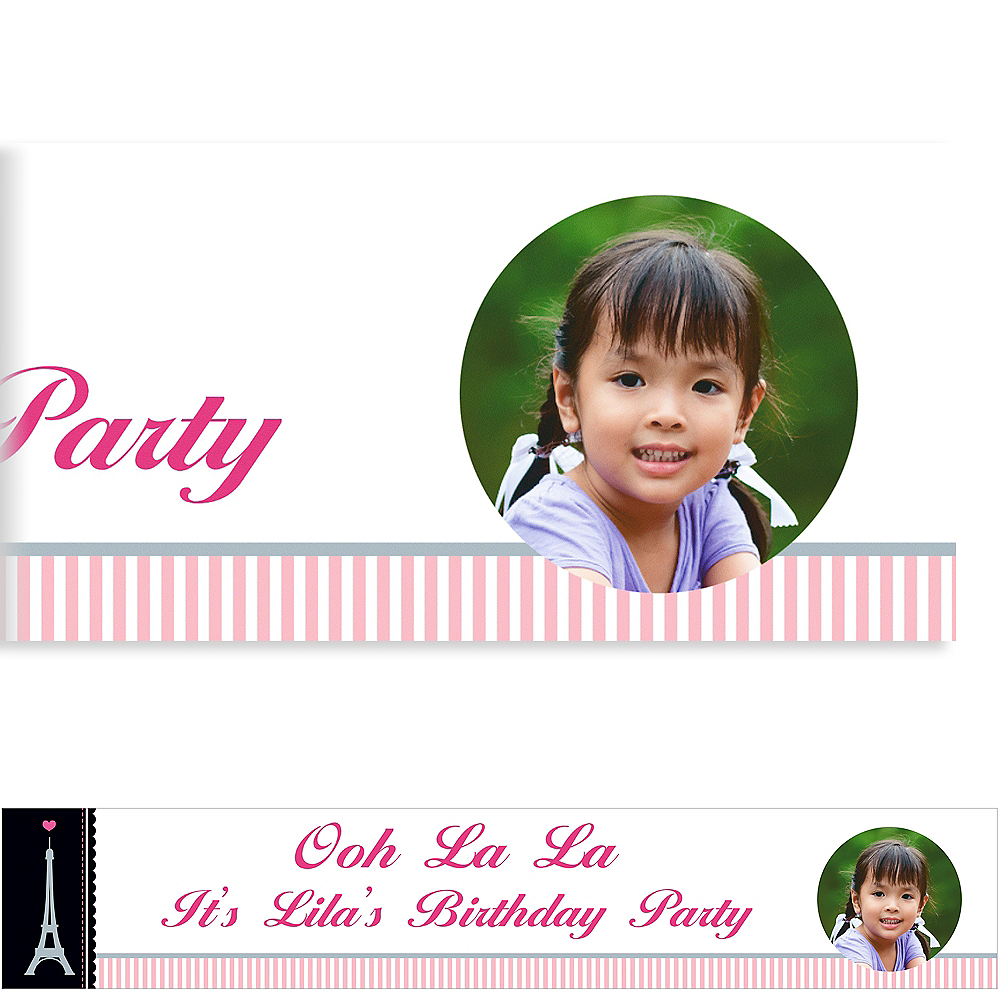 Custom Pink Paris Party Photo Banner Image #1