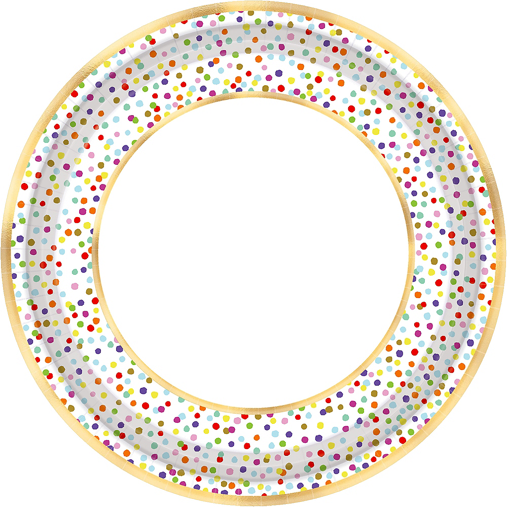 Rainbow Confetti Dinner Plates 18ct Image #1
