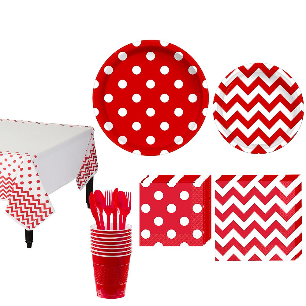 Red Polka Dot & Chevron Paper Tableware Kit for 16 Guests Image #1
