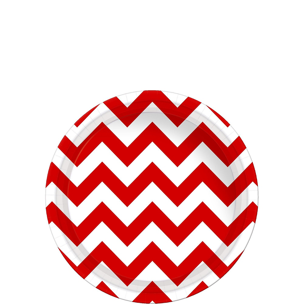 Red Polka Dot & Chevron Paper Tableware Kit for 16 Guests Image #2