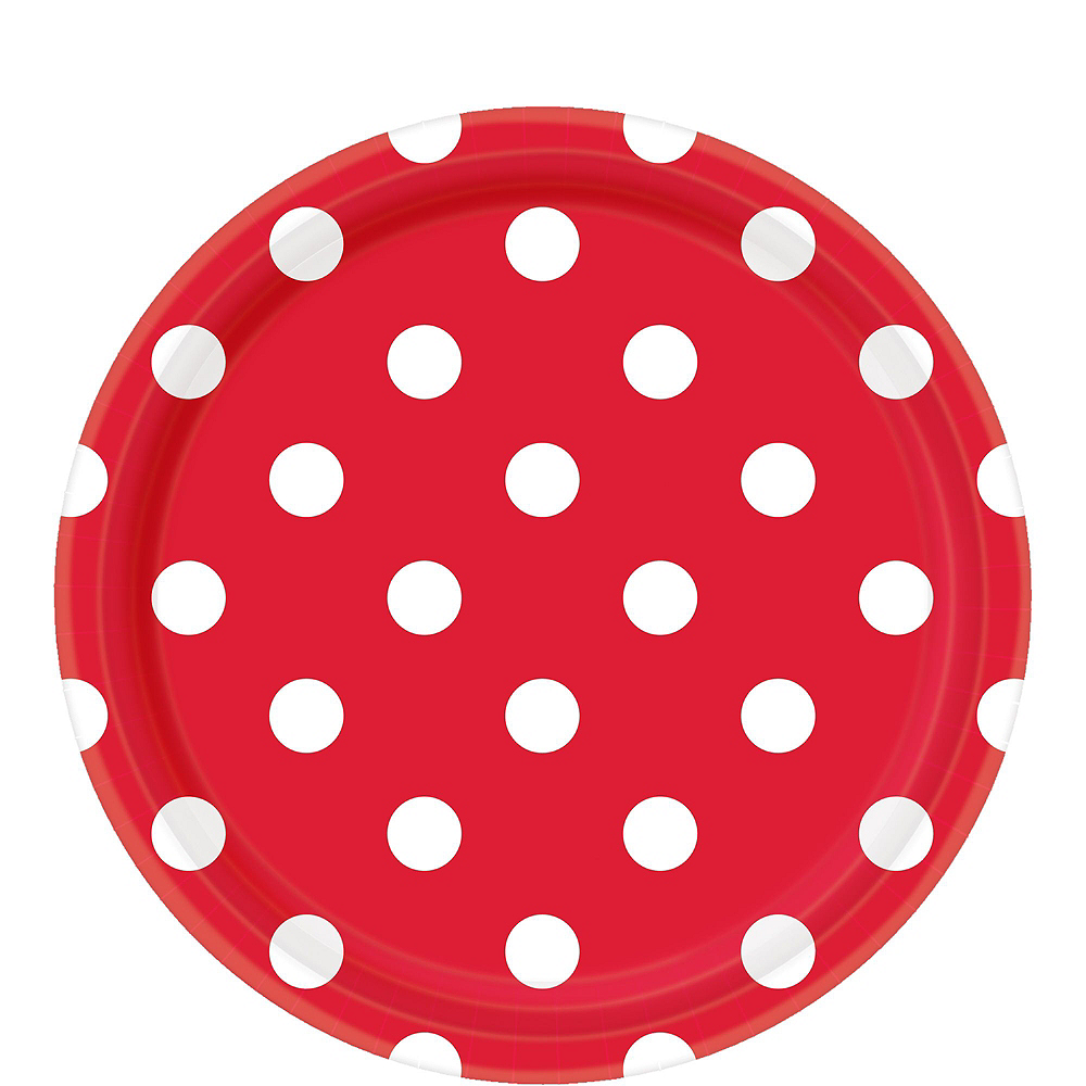 Red Polka Dot & Chevron Paper Tableware Kit for 16 Guests Image #3