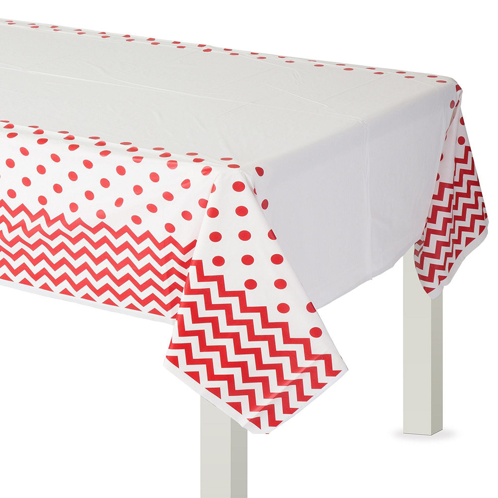 Red Polka Dot & Chevron Paper Tableware Kit for 16 Guests Image #7