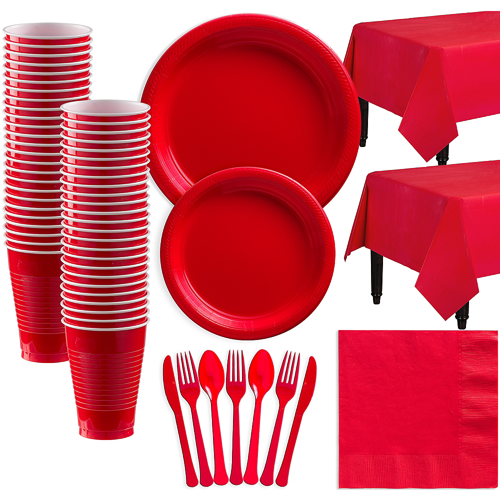 Red Plastic Tableware Kit for 50 Guests Image #1