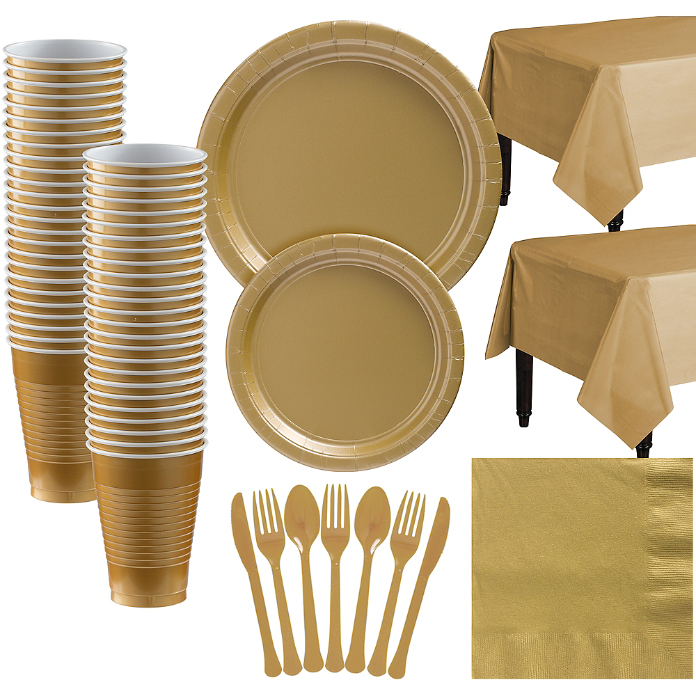 Gold Paper Tableware Kit for 50 Guests Image #1