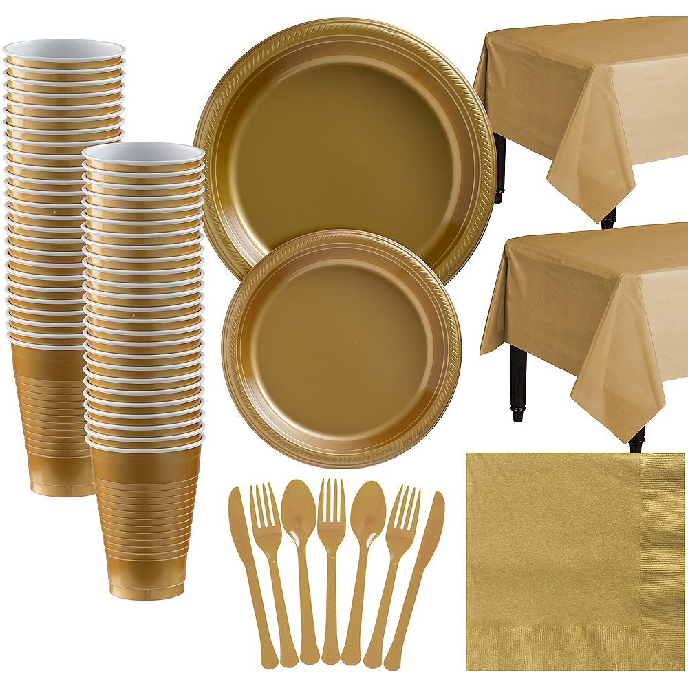 Gold Plastic Tableware Kit for 50 Guests Image #1