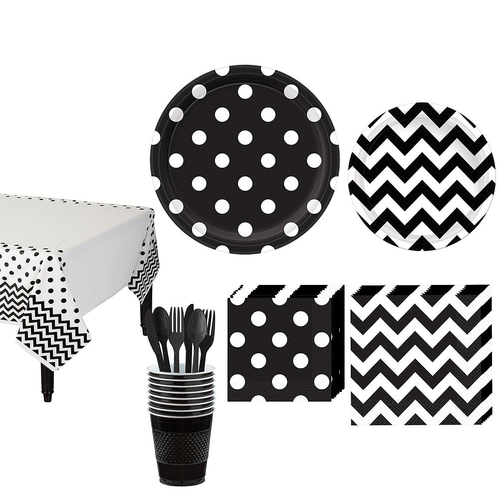 Black Polka Dot & Chevron Paper Tableware Kit for 16 Guests Image #1