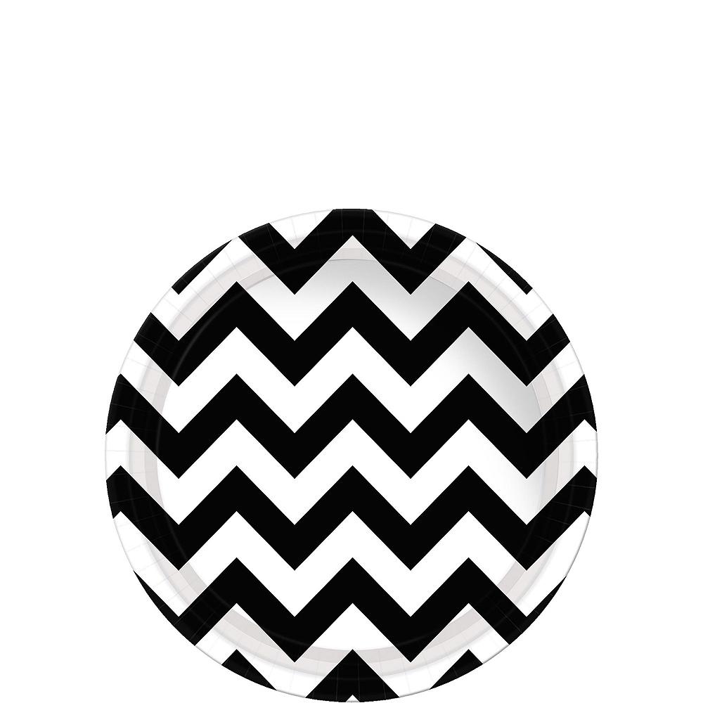 Black Polka Dot & Chevron Paper Tableware Kit for 16 Guests Image #2