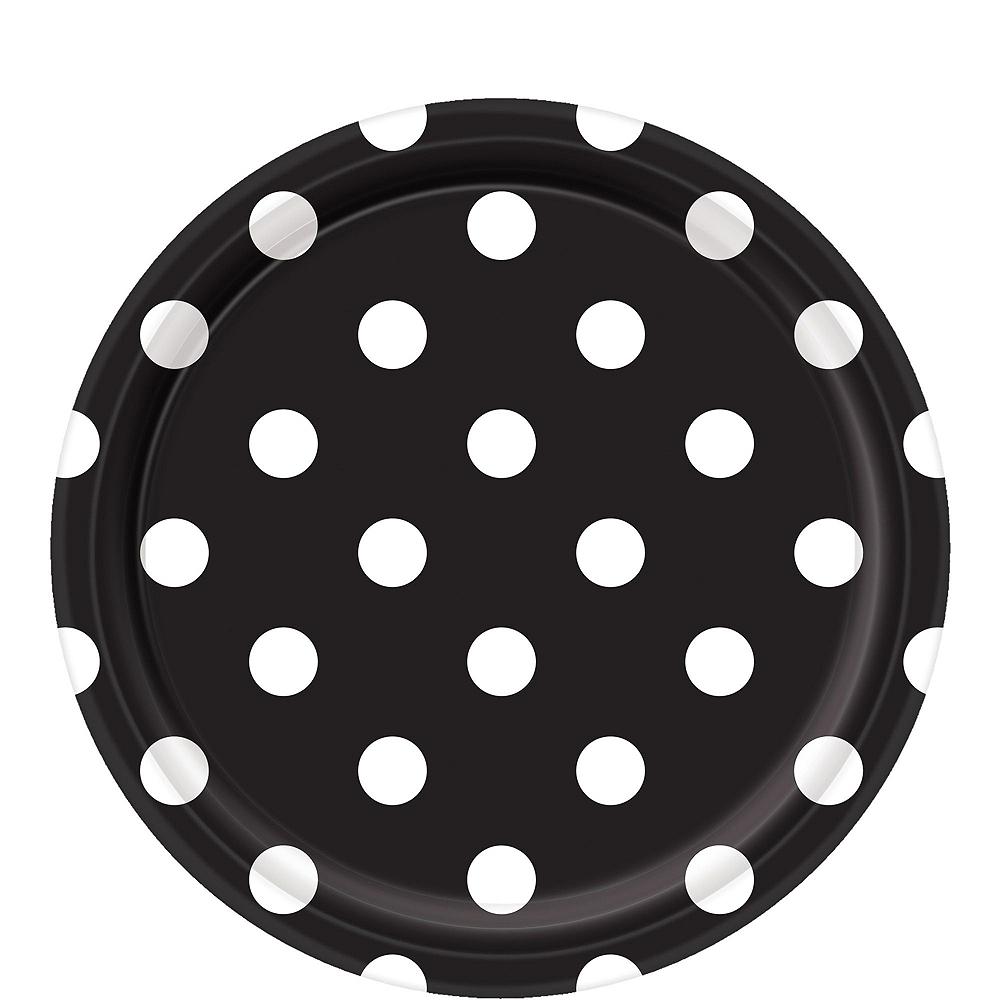 Black Polka Dot & Chevron Paper Tableware Kit for 16 Guests Image #3