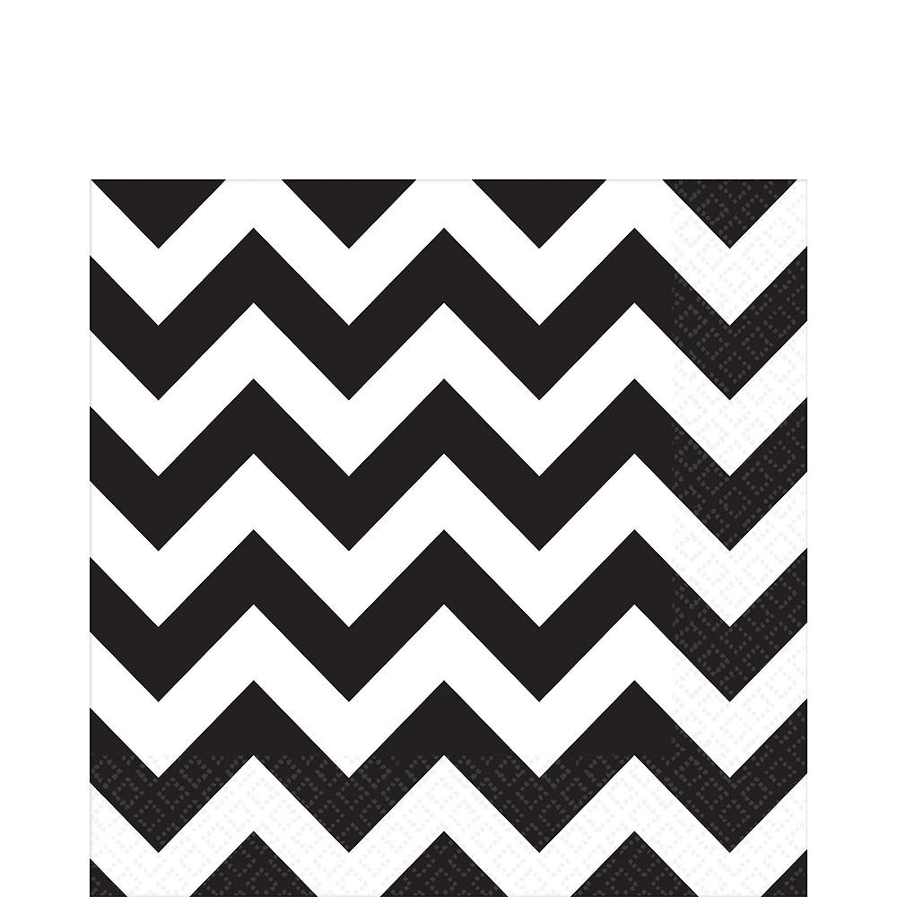 Black Polka Dot & Chevron Paper Tableware Kit for 16 Guests Image #5