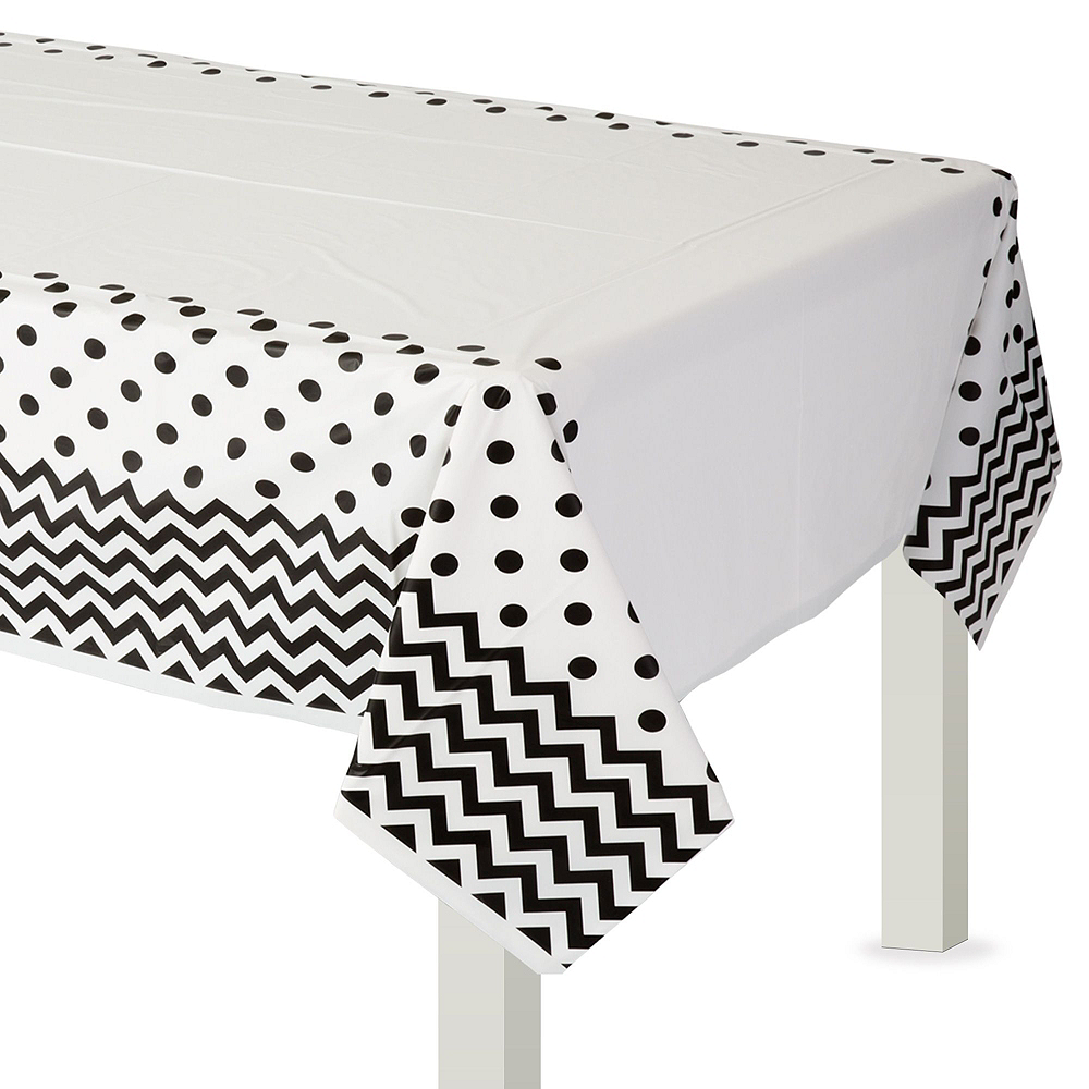 Black Polka Dot & Chevron Paper Tableware Kit for 16 Guests Image #7