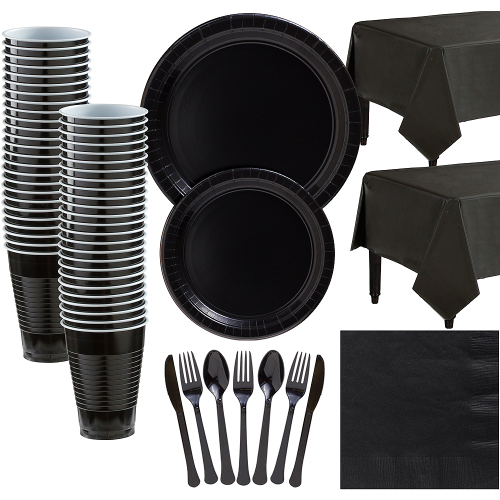 Black Paper Tableware Kit for 50 Guests Image #1