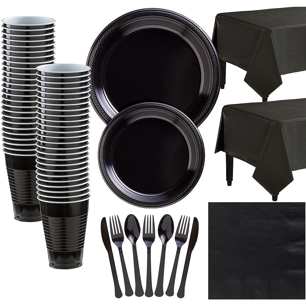 Black Plastic Tableware Kit for 50 Guests Image #1