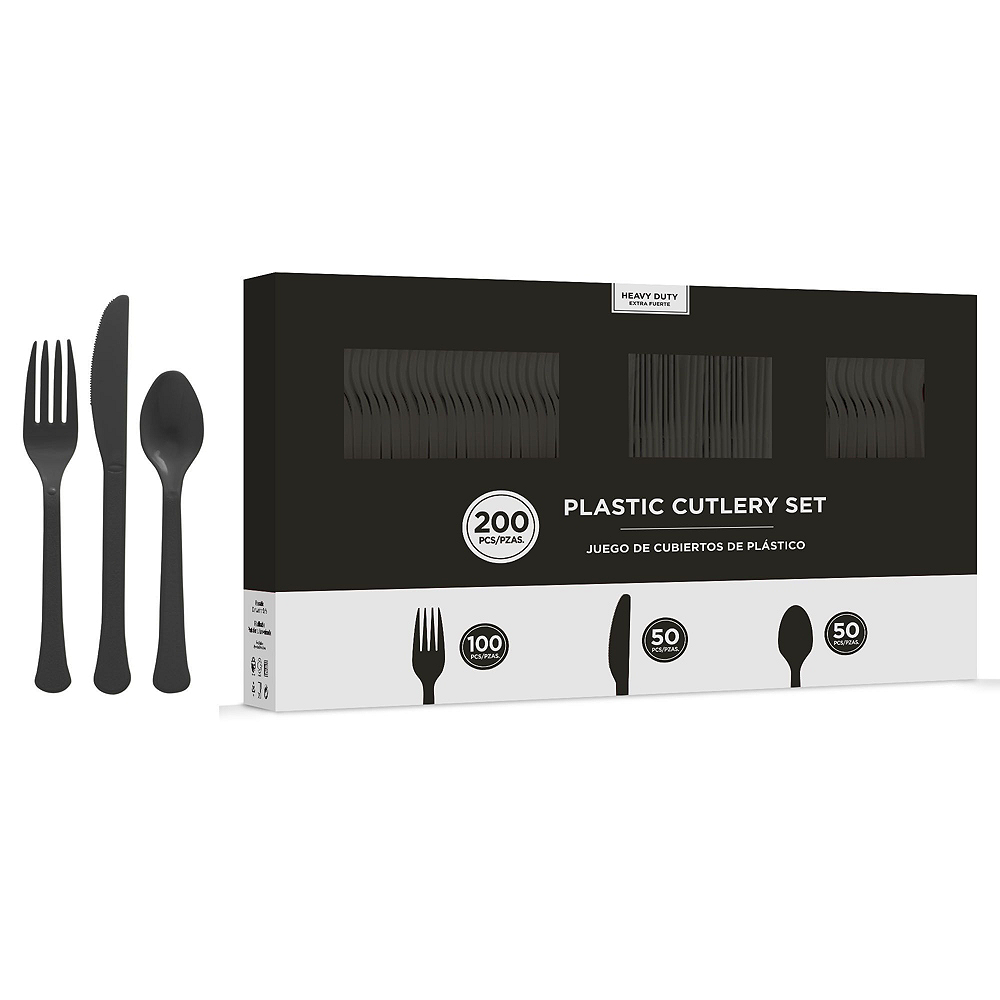Black Plastic Tableware Kit for 50 Guests Image #7
