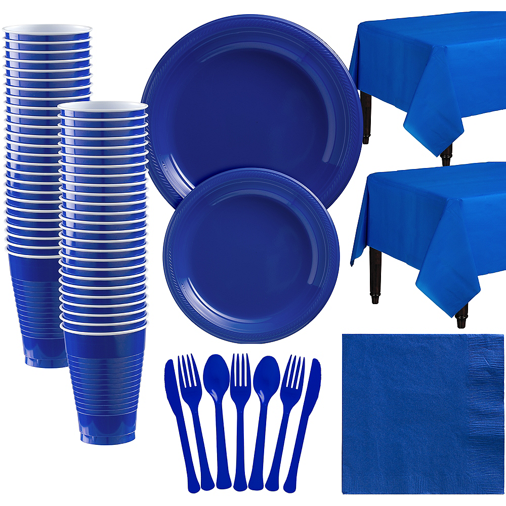Royal Blue Plastic Tableware Kit for 50 Guests Image #1