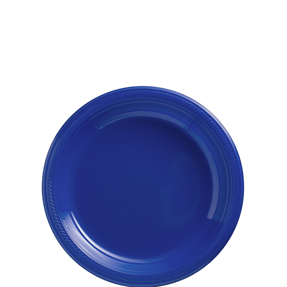 Royal Blue Plastic Tableware Kit for 50 Guests Image #2