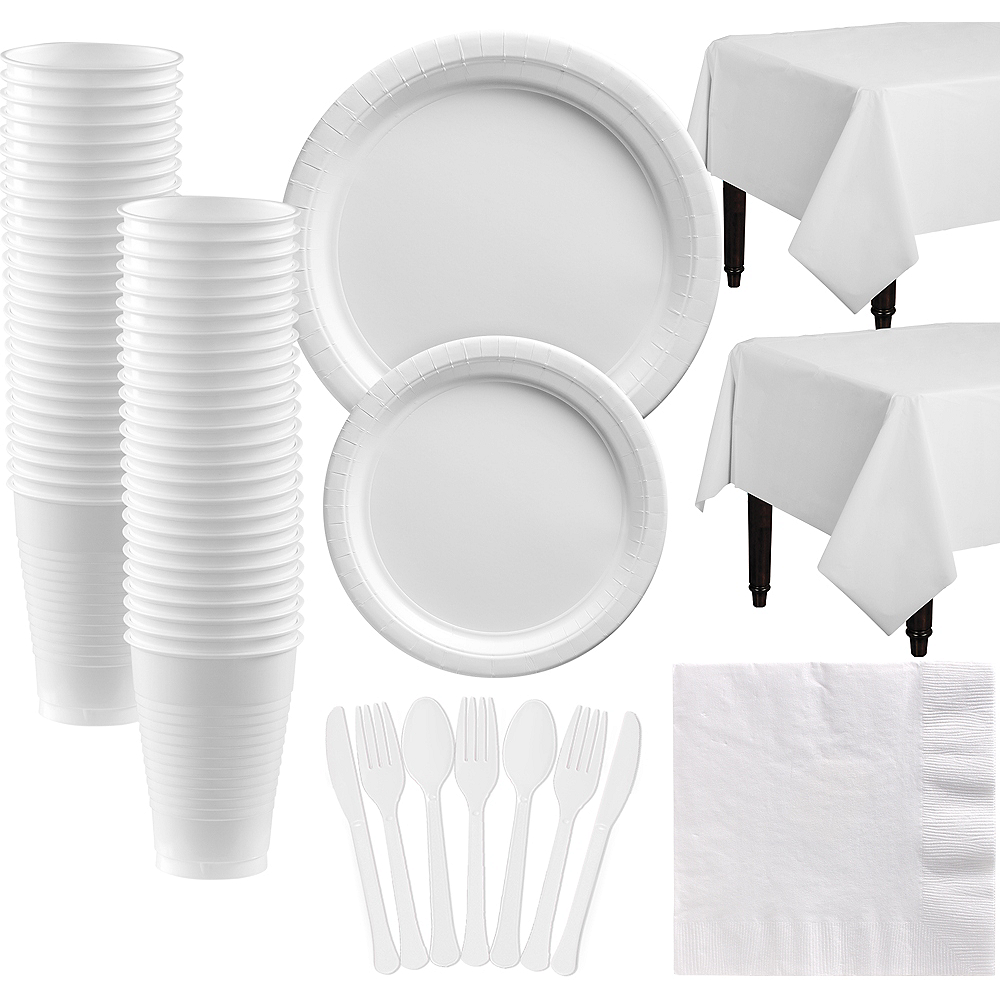 White Paper Tableware Kit for 50 Guests Image #1