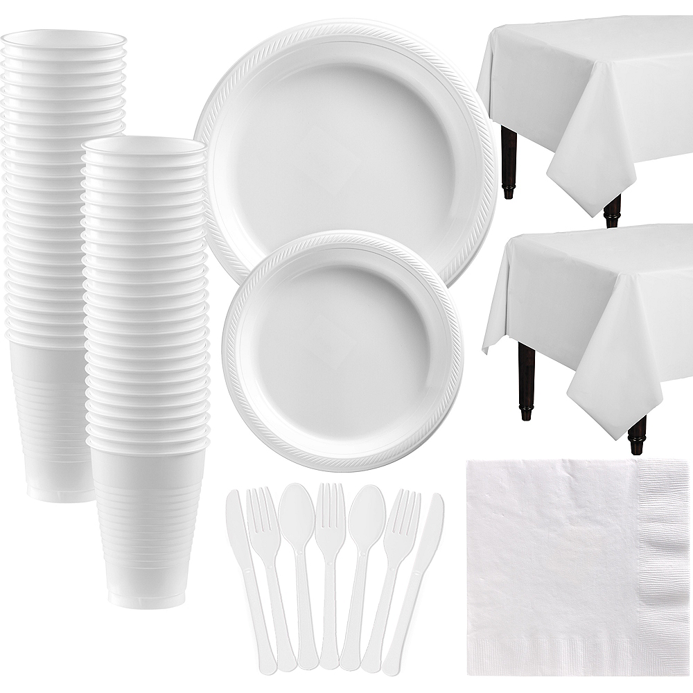 White Plastic Disposable Tableware Kit for 50 Guests Image #1