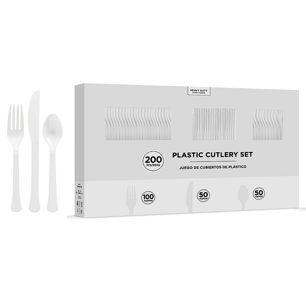 White Plastic Disposable Tableware Kit for 50 Guests Image #7